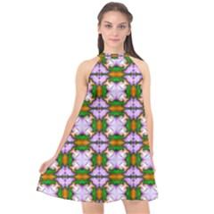 Seamless Wallpaper Digital Halter Neckline Chiffon Dress
