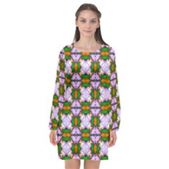 Seamless Wallpaper Digital Long Sleeve Chiffon Shift Dress