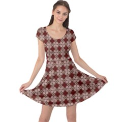 Brown Tiles Leaves Wallpaper Cap Sleeve Dress