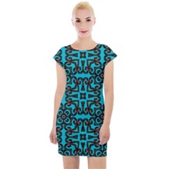 Pattern Seamless Ornament Abstract Cap Sleeve Bodycon Dress