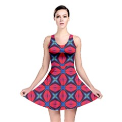 Seamless Wallpaper Digital Pattern Red Blue Reversible Skater Dress by Pakrebo