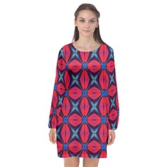 Seamless Wallpaper Digital Pattern Red Blue Long Sleeve Chiffon Shift Dress