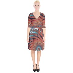 Fractal Spiral Abstract Design Wrap Up Cocktail Dress by Pakrebo