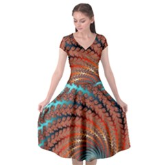 Fractal Spiral Abstract Design Cap Sleeve Wrap Front Dress by Pakrebo