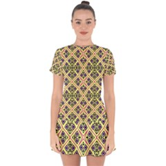 Seamless Wallpaper Geometric Yellow Drop Hem Mini Chiffon Dress