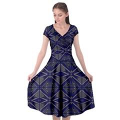 Seamless Pattern Ornament Symmetry Cap Sleeve Wrap Front Dress