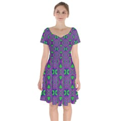 Seamless Wallpaper Pattern Ornament Green Purple Short Sleeve Bardot Dress