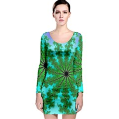 Fractal Abstract Rendering Long Sleeve Bodycon Dress