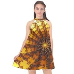 Background Colorful Graphic Design Halter Neckline Chiffon Dress