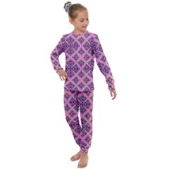 Seamless Wallpaper Geometric Pink Kids  Long Sleeve Set  by Pakrebo