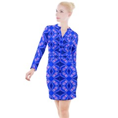 Seamless Fractal Blue Wallpaper Button Long Sleeve Dress