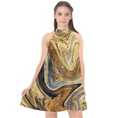 Abstract Acrylic Art Artwork Halter Neckline Chiffon Dress  by Pakrebo