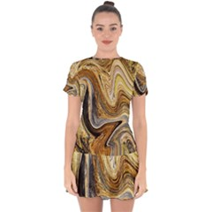 Abstract Acrylic Art Artwork Drop Hem Mini Chiffon Dress