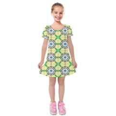 Seamless Wallpaper Digital Art Pattern Kids  Short Sleeve Velvet Dress