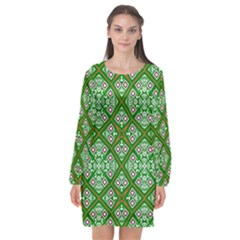 Symmetry Digital Art Pattern Green Long Sleeve Chiffon Shift Dress