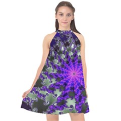 Fractal Rendering Digital Art Halter Neckline Chiffon Dress