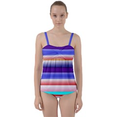 Cotton Candy Stripes Twist Front Tankini Set by bloomingvinedesign