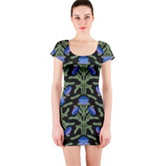 Pattern Thistle Structure Texture Short Sleeve Bodycon Dress by Pakrebo