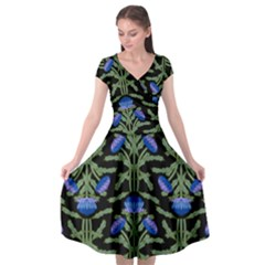 Pattern Thistle Structure Texture Cap Sleeve Wrap Front Dress