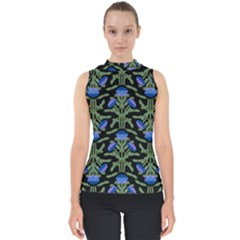 Pattern Thistle Structure Texture Mock Neck Shell Top by Pakrebo