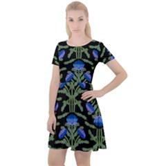 Pattern Thistle Structure Texture Cap Sleeve Velour Dress  by Pakrebo