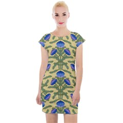 Pattern Thistle Structure Texture Cap Sleeve Bodycon Dress by Pakrebo