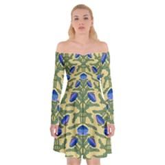 Pattern Thistle Structure Texture Off Shoulder Skater Dress by Pakrebo