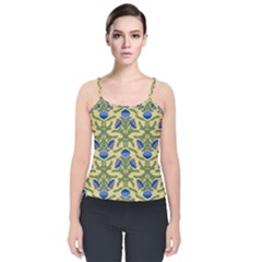 Pattern Thistle Structure Texture Velvet Spaghetti Strap Top by Pakrebo