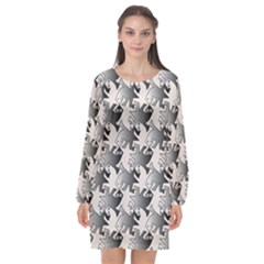 Seamless Tessellation Background Long Sleeve Chiffon Shift Dress