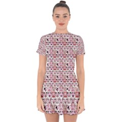 Graphic Seamless Pattern Pig Drop Hem Mini Chiffon Dress