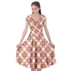 Pattern Flowers Flower Pattern Cap Sleeve Wrap Front Dress