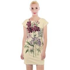 Botanical Print Antique Flora Plant Cap Sleeve Bodycon Dress