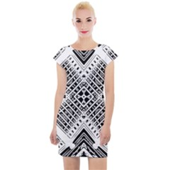 Pattern Tile Repeating Geometric Cap Sleeve Bodycon Dress