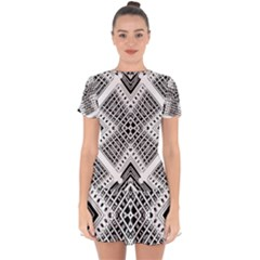 Pattern Tile Repeating Geometric Drop Hem Mini Chiffon Dress