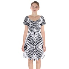 Pattern Tile Repeating Geometric Short Sleeve Bardot Dress