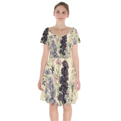 Botanical Print Antique Floral Short Sleeve Bardot Dress by Pakrebo