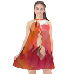Fire Abstract Cartoon Red Hot Halter Neckline Chiffon Dress