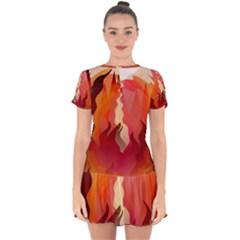Fire Abstract Cartoon Red Hot Drop Hem Mini Chiffon Dress