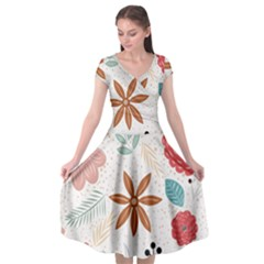 Nature Shape Leaves Flowers Art Cap Sleeve Wrap Front Dress by Pakrebo