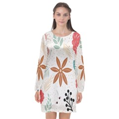 Nature Shape Leaves Flowers Art Long Sleeve Chiffon Shift Dress