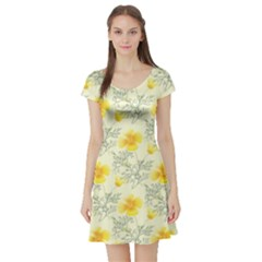 Floral Background Scrapbooking Yellow Short Sleeve Skater Dress