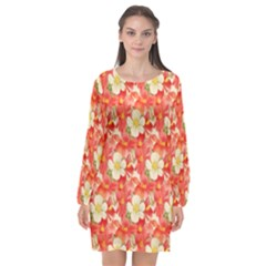 Background Images Floral Pattern Red White Long Sleeve Chiffon Shift Dress  by Pakrebo