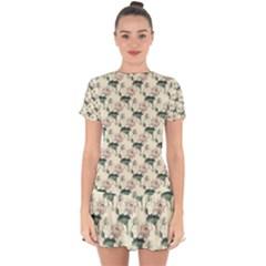 Floral Pattern Scrapbook Seamless Drop Hem Mini Chiffon Dress