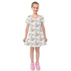 Floral Pattern Scrapbook Decorative Kids  Short Sleeve Velvet Dress by Pakrebo
