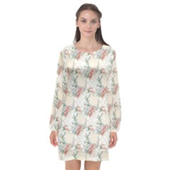 Floral Pattern Scrapbook Decorative Long Sleeve Chiffon Shift Dress