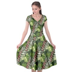 Leaves Seamless Pattern Design Cap Sleeve Wrap Front Dress