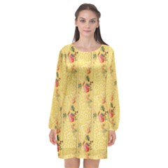 Pattern Backgrounds And Textures Long Sleeve Chiffon Shift Dress