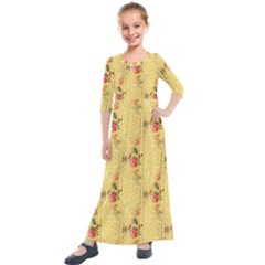 Pattern Backgrounds And Textures Kids  Quarter Sleeve Maxi Dress by Pakrebo