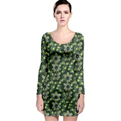 Abstract Pattern Flower Leaf Long Sleeve Bodycon Dress