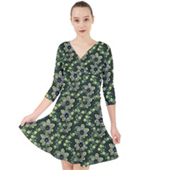 Abstract Pattern Flower Leaf Quarter Sleeve Front Wrap Dress